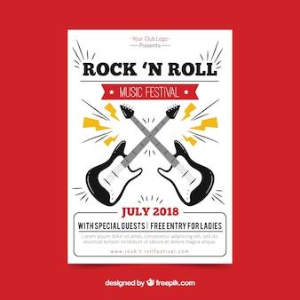 Plakat festiwalu rock n roll muzyka