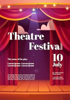 Plakat festiwalu teatralnego z czerwonymi zasłonami za kulisami i drewnianą sceną ze świecącymi reflektorami i girlandą
