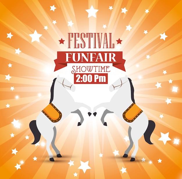 Plakat festiwalu wesołe miasteczko konie rozrywki