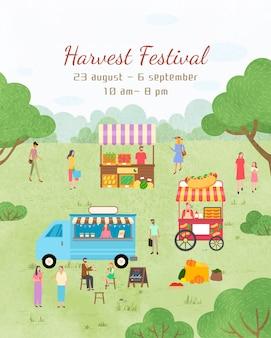 Plakat festiwalu żniw daty zaproszenie na wydarzenie