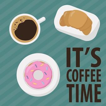 Plakat filiżanka kawy rogalik pączek i czas na kawę tekst widok z góry filiżanka do espresso