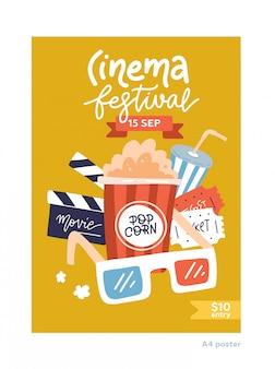 Plakat filmowy w formacie a4. płaska konstrukcja plakatu kinowego z symbolami filmu - taśma, okulary stereo, popcorn, clapperboards.