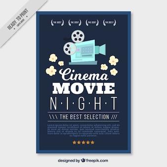 Plakat filmowy z rocznika kamery i popcorn