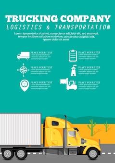 Plakat firmy przewozowej z ciężarówką do przewozu kontenerów