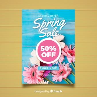 Plakat fotograficzny wiosna kwiatowy sprzedaż