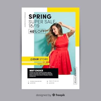 Plakat fotograficzny wiosna sprzedaży