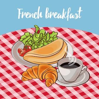 Plakat francuskiego śniadania