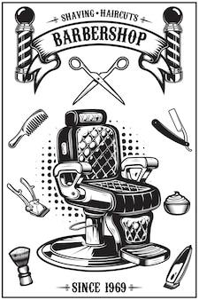 Plakat fryzjerski z krzesłem fryzjerskim, narzędzia do strzyżenia. elementy plakatu, godła. ilustracja