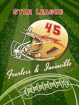 Plakat futbolowy ligi gwiazd z kaskiem i boiskiem do piłki nożnej