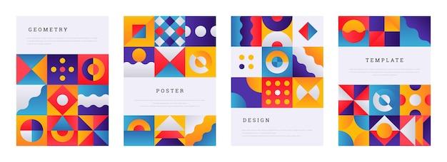 Plakat geometryczny. streszczenie minimalne broszury memphis, szablon transparentu z nowoczesnym modnym wzorem. proste ilustracje wektorowe rocznika ulotki z kolorowym modernizmem