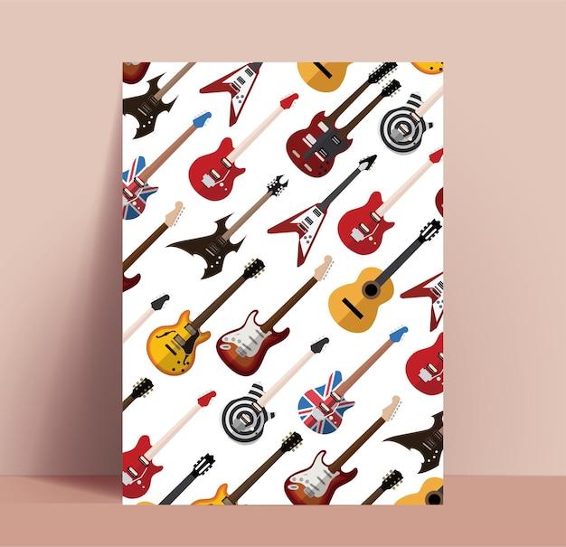 Plakat gitarowy. szablon plakatu muzyki rockowej z różnymi wzorami gitar