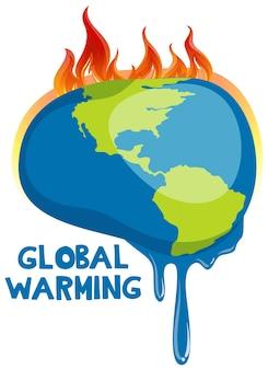 Plakat globalnego ocieplenia z topniejącą ziemią