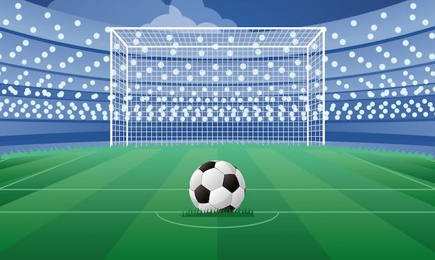 Plakat godło sportu piłki nożnej z balonem w punkcie karnym