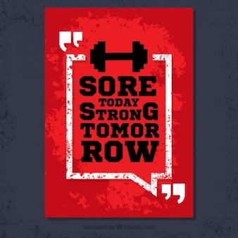 Plakat grunge z fitness cytatem