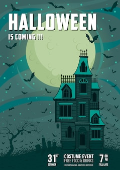 Plakat halloween haunted house