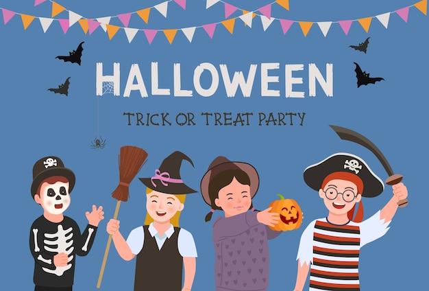 Plakat halloween party. kostium na halloween dla dzieci. grupa zabawnych i uroczych dzieciaków w kostiumie na halloween.