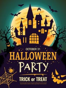 Plakat halloween. straszny szablon ulotki zaproszenie na imprezę z symbolami horroru kości dyni czaszka halloween tło