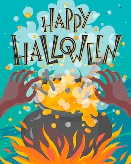 Plakat halloween z napisem, rękami czarownicy i kociołkiem