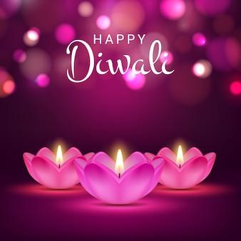 Plakat happy diwali, indyjski festiwal świateł, kartka świąteczna hindu diwali z realistycznym płonącym ogniem w kwiatach lotosu. projekt karty z pozdrowieniami diwali z lampami 3d na niewyraźne fioletowe tło