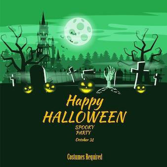 Plakat happy halloween wakacje cmentarz dyni