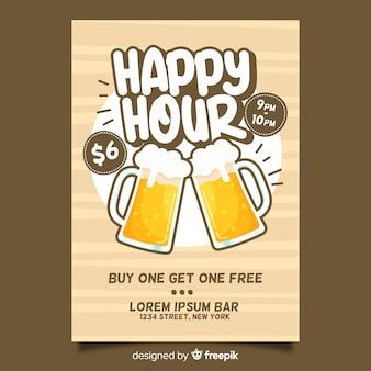 Plakat happy hour piwa z płaska konstrukcja