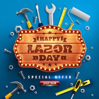 Plakat happy labor day. obchody święta pracy usa z tablicami z drewna, młotem, śrubami, nakrętkami i innymi narzędziami.