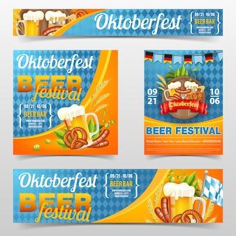 Plakat i baner z okazji festiwalu piwa oktoberfest z beczką, szklanką piwa jasnego, jęczmienia, chmielu, precli, kiełbasek i wstążki. na niebieskim tle tradycyjnej niemieckiej flagi