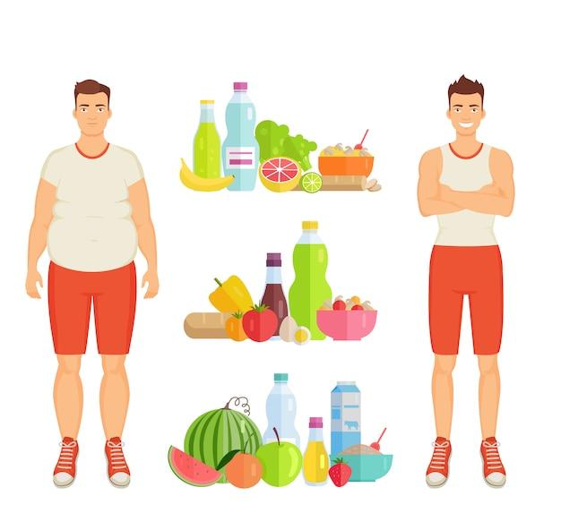 Plakat i ikony zdrowej żywności