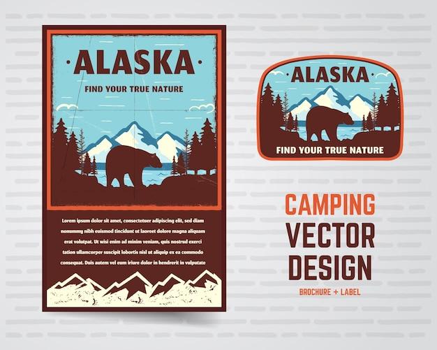 Plakat i odznaka usa. alaska z górami, niedźwiedziem i leśnym krajobrazem. zabytkowe