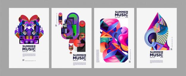 Plakat i okładka festiwalu kolorowej sztuki i muzyki letniej