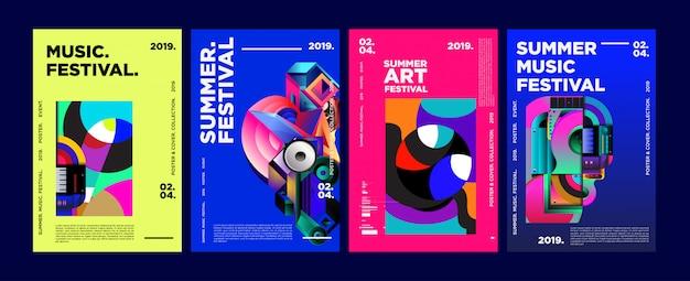 Plakat i okładka summer colorful art and music festival