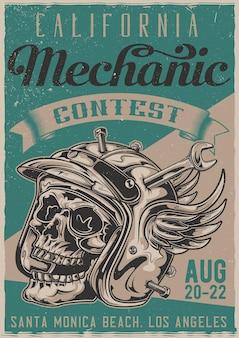 Plakat ilustracji mechanika czaszki