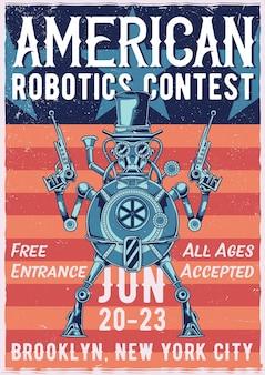 Plakat ilustracji robota steampunk