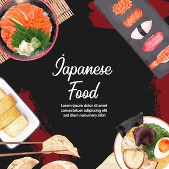 Plakat ilustracji sushi restauracji. inspirowany stylem japońskim w nowoczesnym stylu