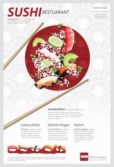 Plakat ilustracji wektorowych restauracji sushi