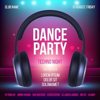 Plakat imprezy taneczne. plakata zaproszenia klubu muzycznego słuchawki realistyczna ilustracja z miejscem dla teksta