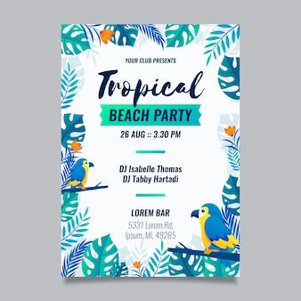 Plakat imprezy tropikalnej ze zwierzętami