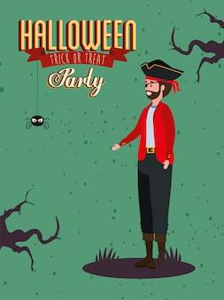 Plakat imprezy z mężczyzną w przebraniu wampira