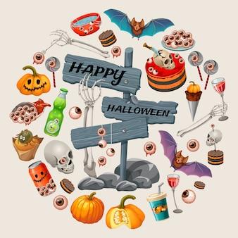 Plakat imprezy z zombie. słodkie jedzenie na halloween.