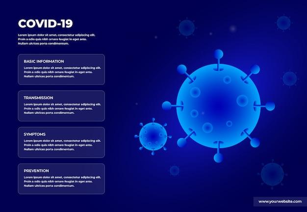 Plakat informacyjny covid-19 z motywem sci-fi hud
