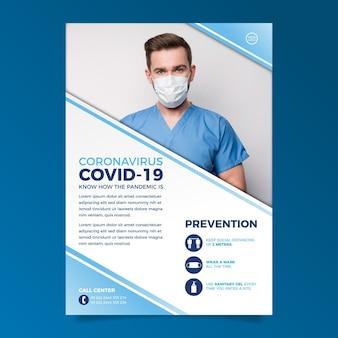Plakat informacyjny na temat koronawirusa ze zdjęciem