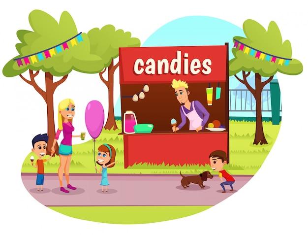 Plakat informacyjny napis cukierki płaskie. przygotowania do świątecznych i wyprzedażowych słodyczy w stajni. młoda niania z dziećmi stoi obok namiotu handlowego. facet sprzedający oferuje lody.