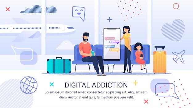 Plakat informacyjny napis digital addiction.