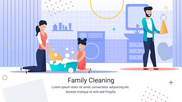 Plakat informacyjny napis family cleaning.