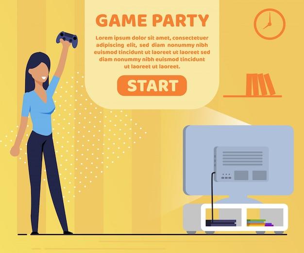 Plakat informacyjny napis gra party flat.