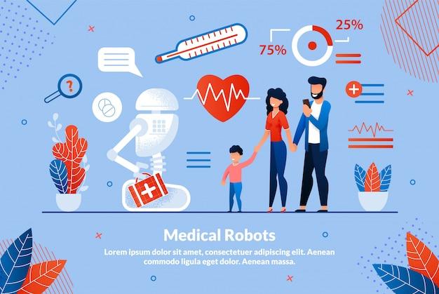 Plakat informacyjny napis o robotach medycznych.