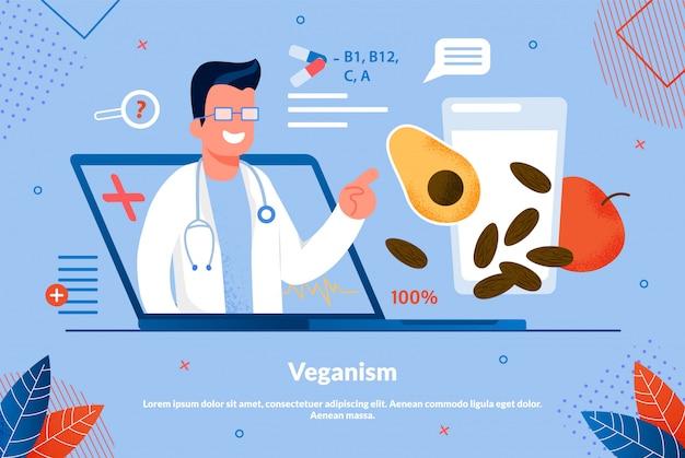Plakat informacyjny napis veganism flat.