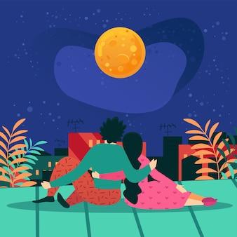 Plakat informacyjny noc data na dachu cartoon.