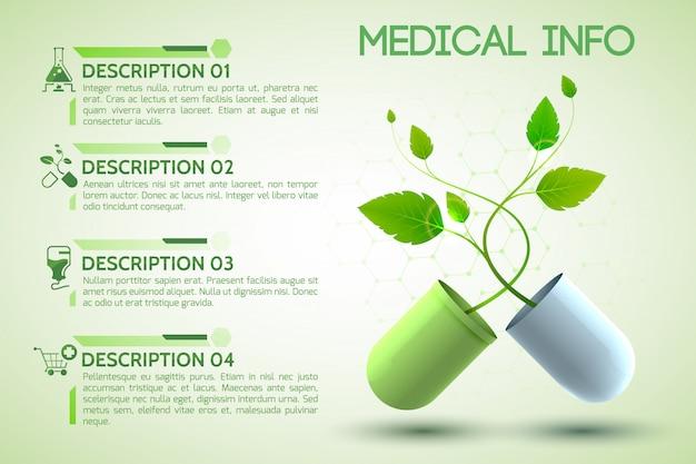 Plakat informacyjny opieki zdrowotnej z realistyczną ilustracją symboli recepty i pomocy