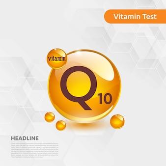 Plakat informacyjny testu witaminy q10 z szablonem tekstowym